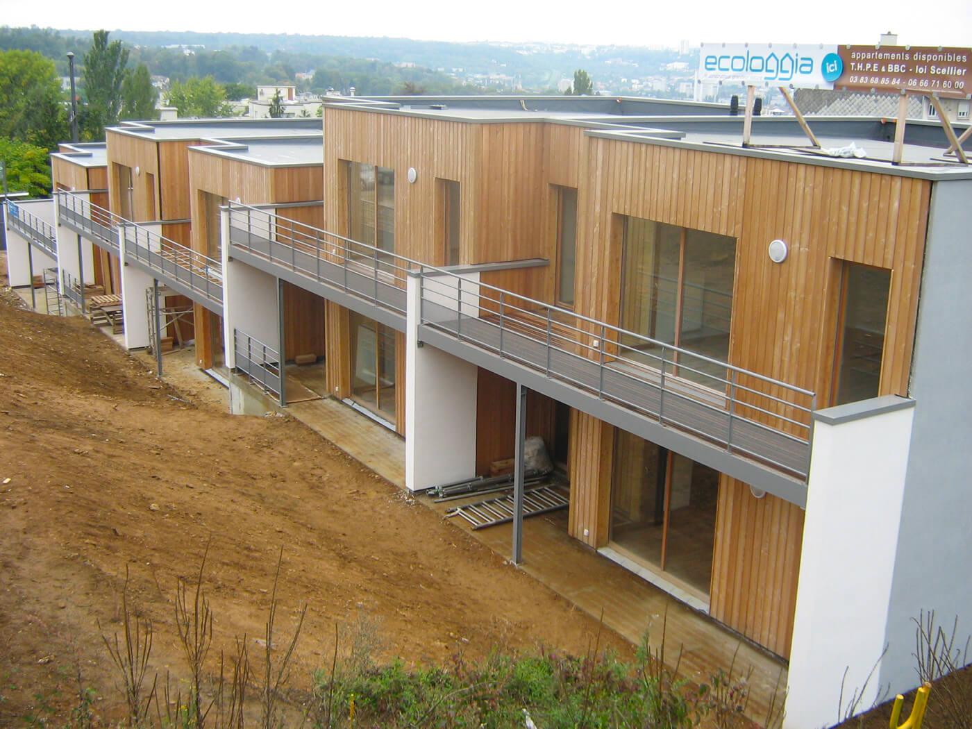 Isolation extérieure immeuble à ossature bois – Chantier Ecologgia Brabois Nancy